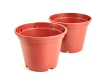 Empty flower pots on the white background. Stock Photo