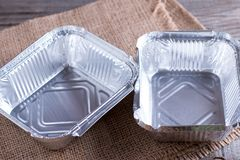 Empty foil tray for food. Form for eating Royalty Free Stock Images