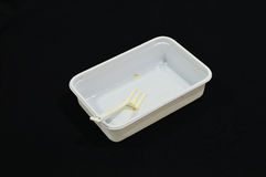 Empty food box. Isolate on black background Royalty Free Stock Photography
