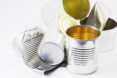 Empty food cans Stock Images
