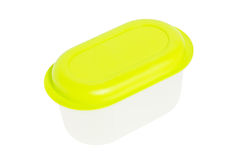 Empty Food Plastic Container With Green Lid. Stock Images