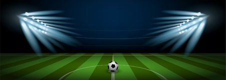 Empty football field arena stadium with realistic football on center and stadium spotlight. Vector illustration Royalty Free Stock Photography