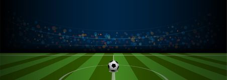 Empty football field arena stadium with realistic football. On center, vector illustration Royalty Free Stock Photos