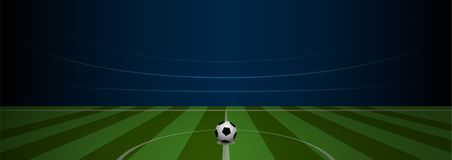Empty football field arena stadium with realistic football on. Center, vector illustration Stock Photography