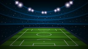 Empty football field arena stadium, vector illustration. Empty soccer ball, football field arena stadium background, vector illustration Stock Photos