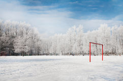 Football gate in winter season Royalty Free Stock Photo