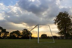 Empty Football Goals at Sunset Stock Images