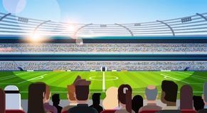 Empty football stadium field silhouettes of fans waiting match rear view flat horizontal royalty free illustration
