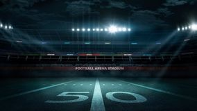 Empty football stadium in light rays at night 3d rendering Royalty Free Stock Photography