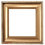 Empty frame. Old damaged golden frame, empty and isolated on white Royalty Free Stock Image