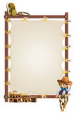 An empty frame banner with a cowboy and saloon bars Stock Photography