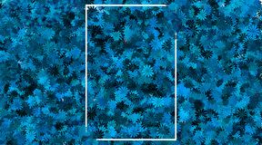 Empty frame and blue flower background royalty free stock photography