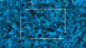 Empty frame and blue flower background stock images