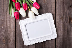 Empty frame and  bright  pink  and white tulips flowers  on rust Stock Photos