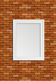 Empty frame on brown brick wall Royalty Free Stock Photo