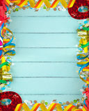 Empty frame for carnival on wood background Royalty Free Stock Photos