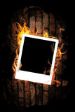 Empty frame with fire. Royalty Free Stock Photo