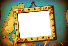 Empty frame hanging on a wall broken Royalty Free Stock Images