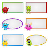 Empty frame with little monster character illustration Royalty Free Stock Photos