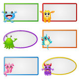 Empty frame with little monster character illustration Stock Images