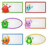 Empty frame with little monster character illustration Royalty Free Stock Photo