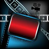 Empty frame for movies. Abstract colorful illustration with colored frame, numbered film strips and movie projector shape Royalty Free Stock Photos
