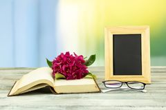 Empty frame and a old book with a blossom from pink azalea and a