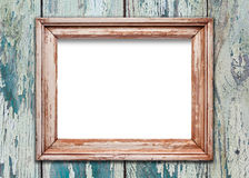 Empty frame on old wooden surface Stock Photography