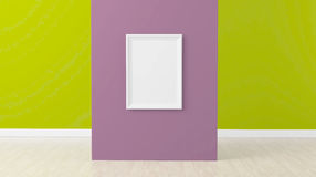 Empty frame in room on red wall. 3d render, empty frame at center of purple wall Stock Images