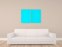Empty frame in room with sofa Royalty Free Stock Photos
