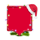 Empty frame with santa claus hat Royalty Free Stock Photography