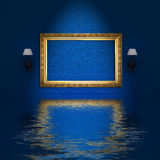 Empty frame and sconces in blue minimalist inter Royalty Free Stock Photography