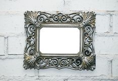 empty frame on a white brick wall royalty free stock photo