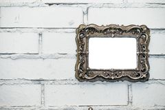 empty frame on a white brick wall stock photo