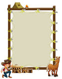 An empty framed banner with a cowboy and a horse Stock Image