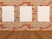 Empty frames on brick wall Stock Photo
