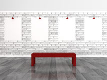 Empty frames on brick wall Stock Photos
