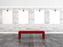 Empty frames on brick wall. 3d rendering empty frames on brick wall Stock Photos