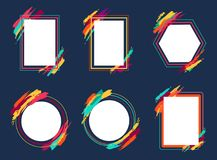 Empty Frames Collection on Vector Illustration. Empty frames collection, geomeytic shape borders decorated with blurry wide colorful lines, space for putting Stock Image