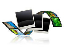Empty frames with film strip. 3d illustration Royalty Free Stock Photography
