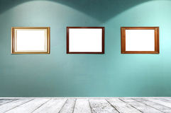 Empty frames in gallery room Stock Photo