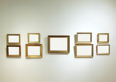 Empty frames on a gallery wall Stock Image