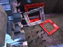 Empty frames with tiny people. 3d Abstract surreal interior, Empty frames with tiny people Stock Image