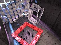 Empty frames with tiny people Royalty Free Stock Photo
