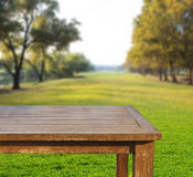 Empty free space top wood table on green grass field against sun Stock Images