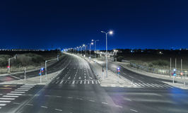 Empty freeway at night Stock Photo