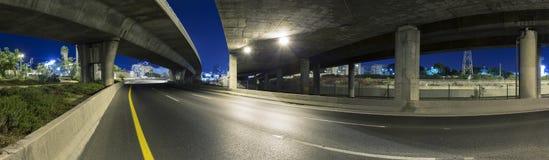 Empty freeway at night. Panoramic shot royalty free stock photography