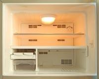 Empty freezer of refrigerator. And orange light bulb inside Stock Image
