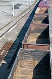 Empty freight carriers on railroad Stock Image
