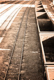 Empty freight train wagons in sepia Stock Image